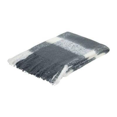 Wren Faux Mohair Throw, 130x160cm, Charcoal