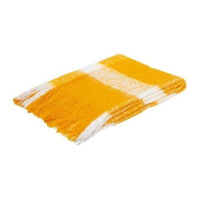 Wren Faux Mohair Throw, 130x160cm, Mustard