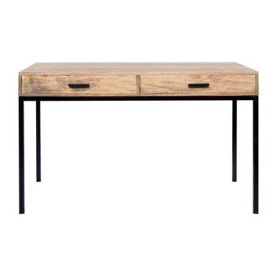 Haines Mango Wood & Iron Writing Desk, 122cm
