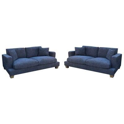 Valen 2.5+2.5 Seater Linen Fabric Sofa Suite, Denim