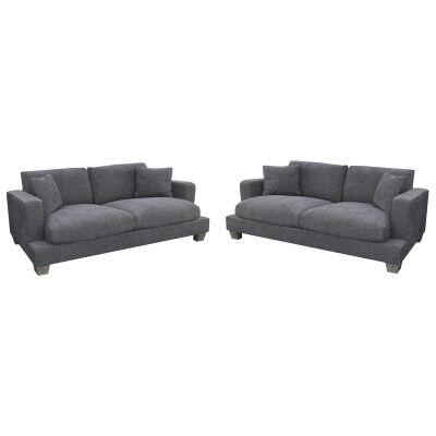 Valen 2.5+2.5 Seater Linen Fabric Sofa Suite, Storm