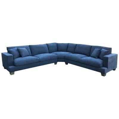 Valen Linen Fabric 5 Seater Modular Corner Sofa, Denim
