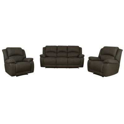 Turin 3+1+1 Seater Rhino Fabric Recliner Sofa Suite, Clay