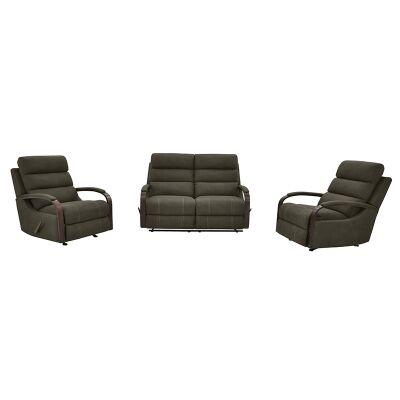 Seward 2+1+1 Seater Rhino Fabric Recliner Sofa & Rocking Chair Set, Clay
