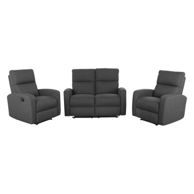 Tacoma 2+1+1 Seater Linen Fabric Recliner Sofa Suite, Charcoal