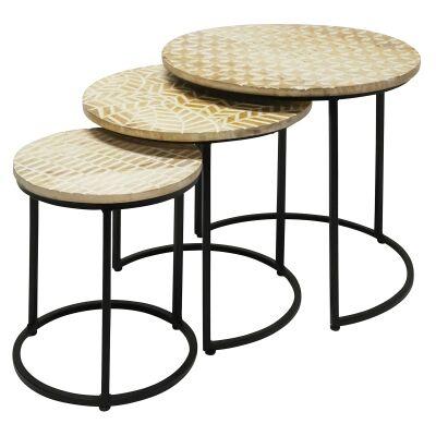 Esme 3 Piece Imbossed Mango Wood & Iron Round Side Table Set
