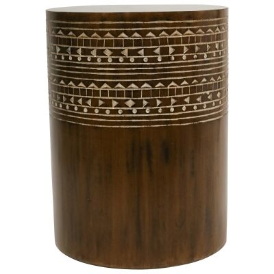 Nylah Mango Wood Drum Side Table