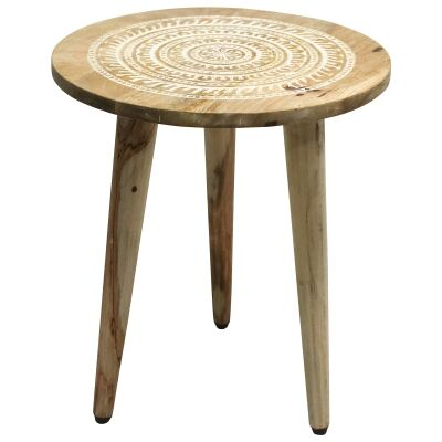 Astric Mango Wood Round Side Table