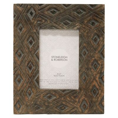 "Burman Carved Mango Wood Photo Frame, 4x6"""