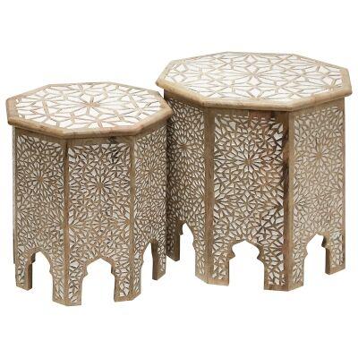 Apte 2 Piece Carved Mango Wood Side Table Set