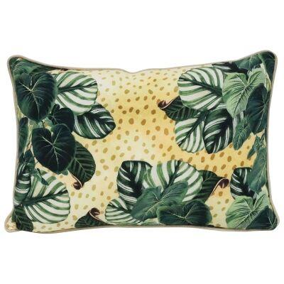 Stripy Leaves Cotton Lumbar Cushion