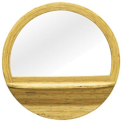 Briar Rattan Frame Round Wall Mirror with Shelf, 100cm