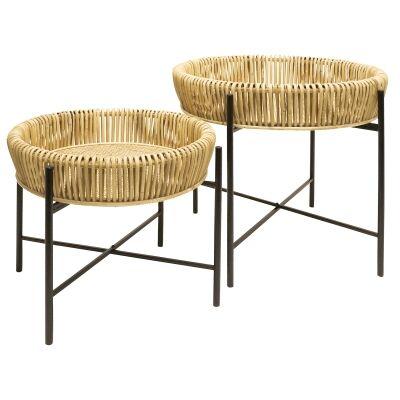 Skandi 2 Piece Rattan & Metal Round Side Table Set