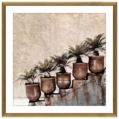 """""""Potted Steps"""" Framed Canvas Wall Art, 100cm"""