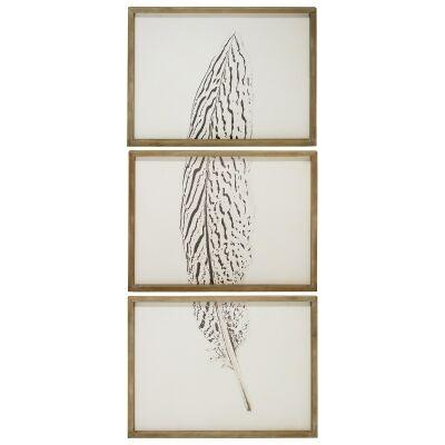 """Tryptch Feather"" 3 Piece Framed Canvas Wall Art Set, 150cm"