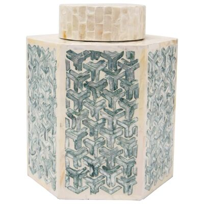 Daoudi Capiz Jar, Large, Blue / Cream