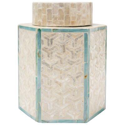 Daoudi Capiz Jar, Small, Cream / Blue