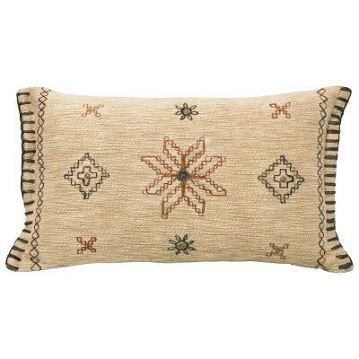 Milli Embroidered Cotton Lumbar Cushion