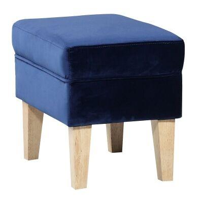 Ainslie Velvet Fabric Footstool, Navy