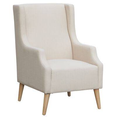 Marianna Fabric Wing Back Armchair, Beige
