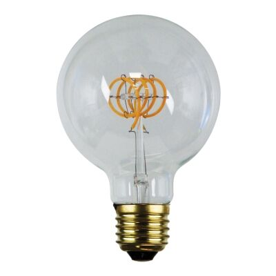 Allume G95 Dimmable LED Spiral Filament Globe, E27, 2200K, Clear