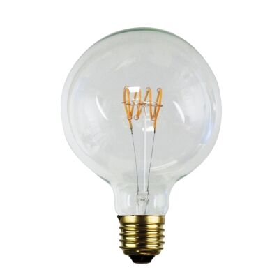 Allume G125 Dimmable LED Spiral Filament Globe, E27, 2200K, Clear