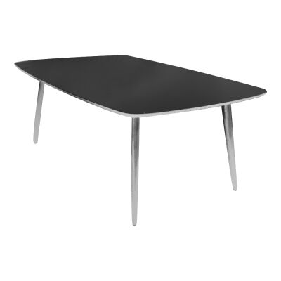 Justin Glass Topped Metal Dining Table, 120cm