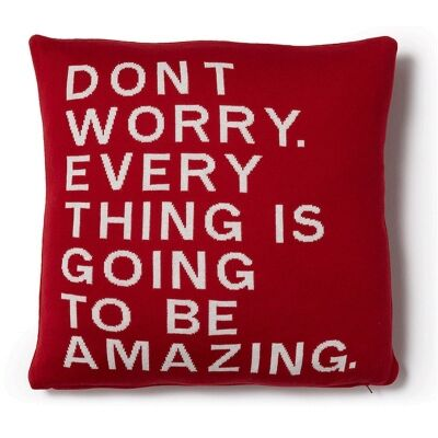 Thrale Cotton Knitted Cushion - Red