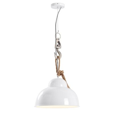 Gairbith Industrial Metal Pendant Light, Glossy White