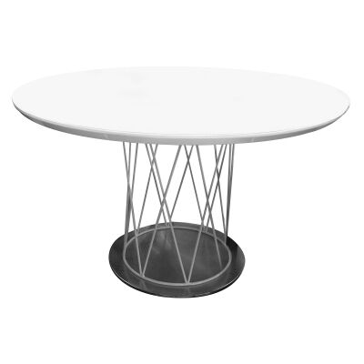 Hanry Round Dining Table, 120cm, White