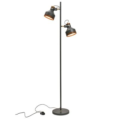 Clinton Metal Floor Lamp, Dark Grey