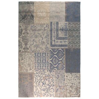 Ellis Cotton Patchwork Rug 160x230cm, Chenille Blue