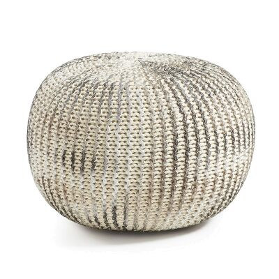 Toroni Knitted Cotton Round Pouf, Silver / White