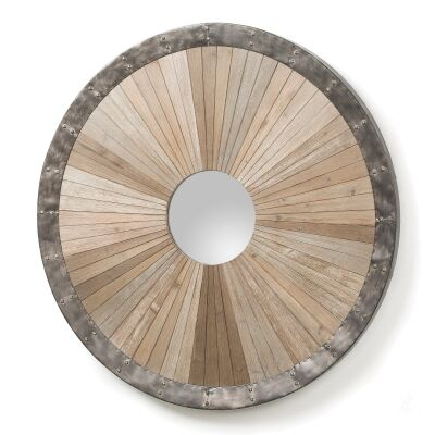Rocco Fir Timber & Steel Frame Round Wall Mirror, 100cm