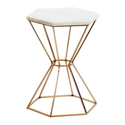 Kiora Marble Top Metal Side Table