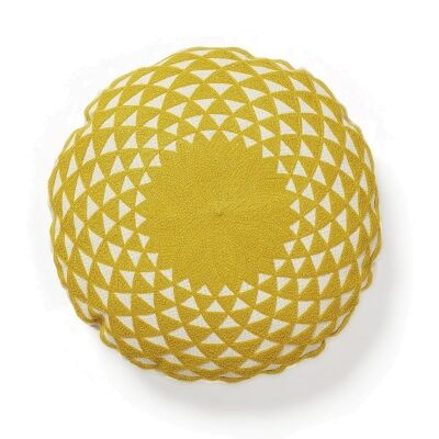 Marieba Cotton Round Cushion, Mustard