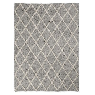 Afra Hand Woven Wool Rug, 230x160cm, Light Grey