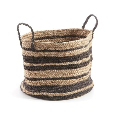 Haus Hand Woven Jute Basket, Natural / Black