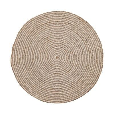 Haus Swirl Hand Woven Cotton & Jute Round Rug, 150cm, Natural / White