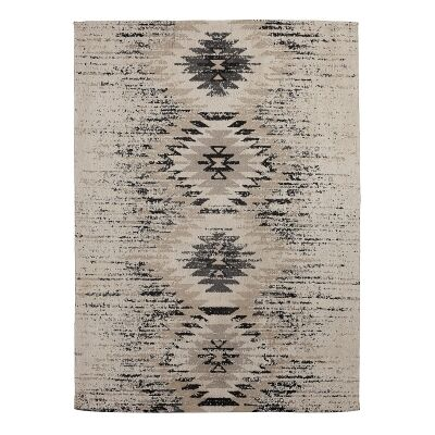 Barak Chenille Jacquard Cotton Rug, 230x160cm, Light Beige