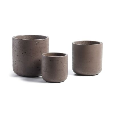 Megalo 3 Piece Poly Cement Planter Set, Type B