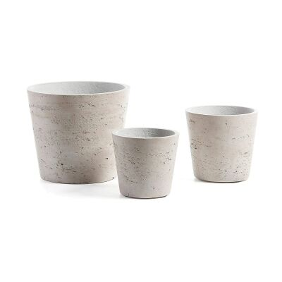 Megalo 3 Piece Poly Cement Planter Set, Type D