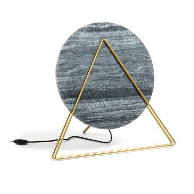 Viola Marble & Metal Table Lamp, Dark Grey / Brass