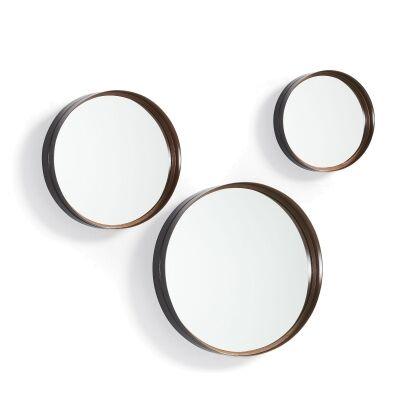 Aviles 3 Piece Steel Frame Round Wall Mirror Set, 50cm