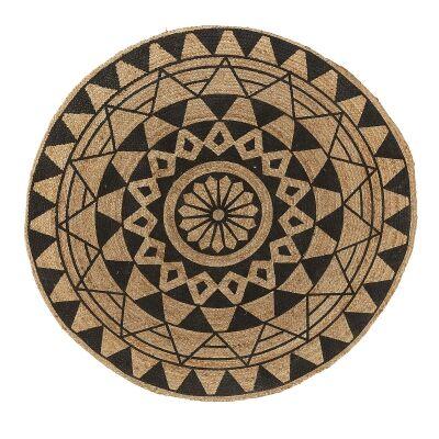 Cassia Printed Round Jute Rug, 150cm