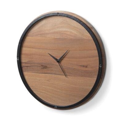 Nathan Round Acacia Timber Wall Clock, 45cm