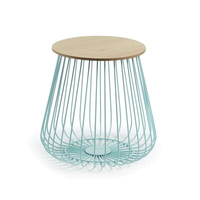 Telfor Steel Round Side Table, Teal