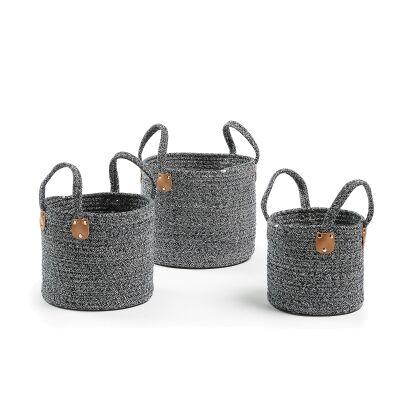 Bergen 3 Piece Cotton Rope Basket Set, Dark Blue