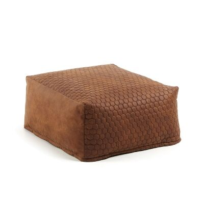 Bellavista Quilted Fabric Bean Bag Pouf, Oxide Brown