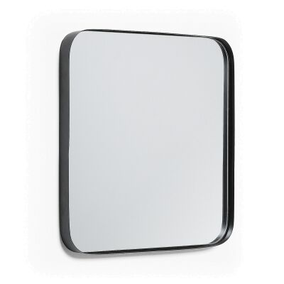 Vang Metal Frame Square Wall Mirror, 40cm, Black